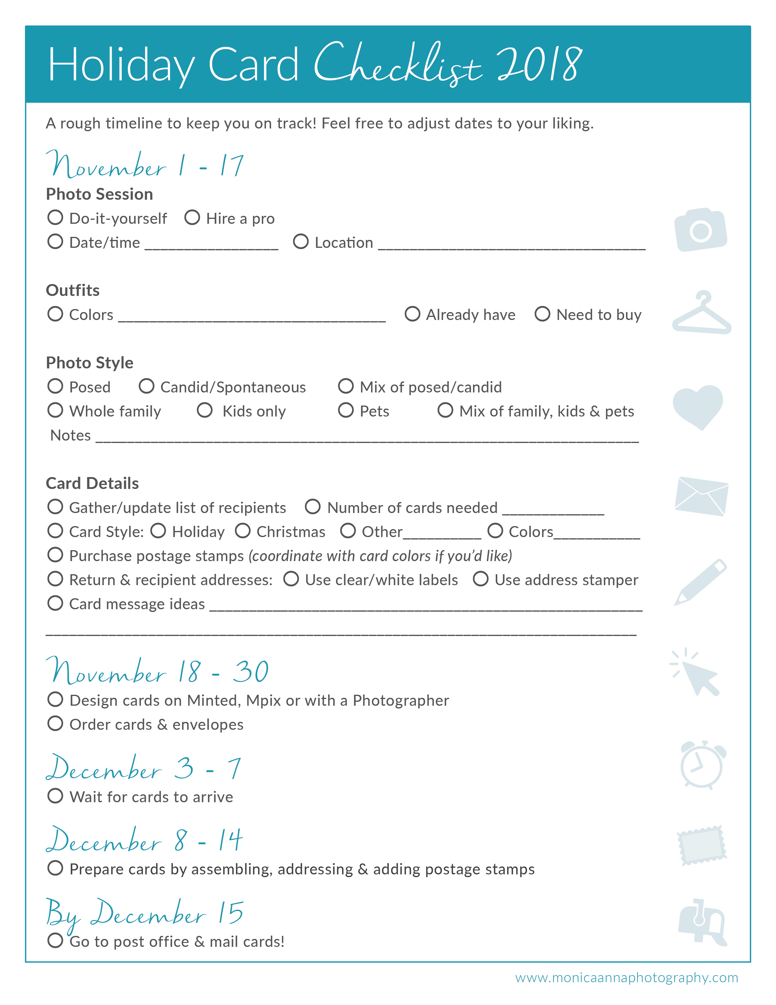 Checklist for Holiday Cards with Family Photos