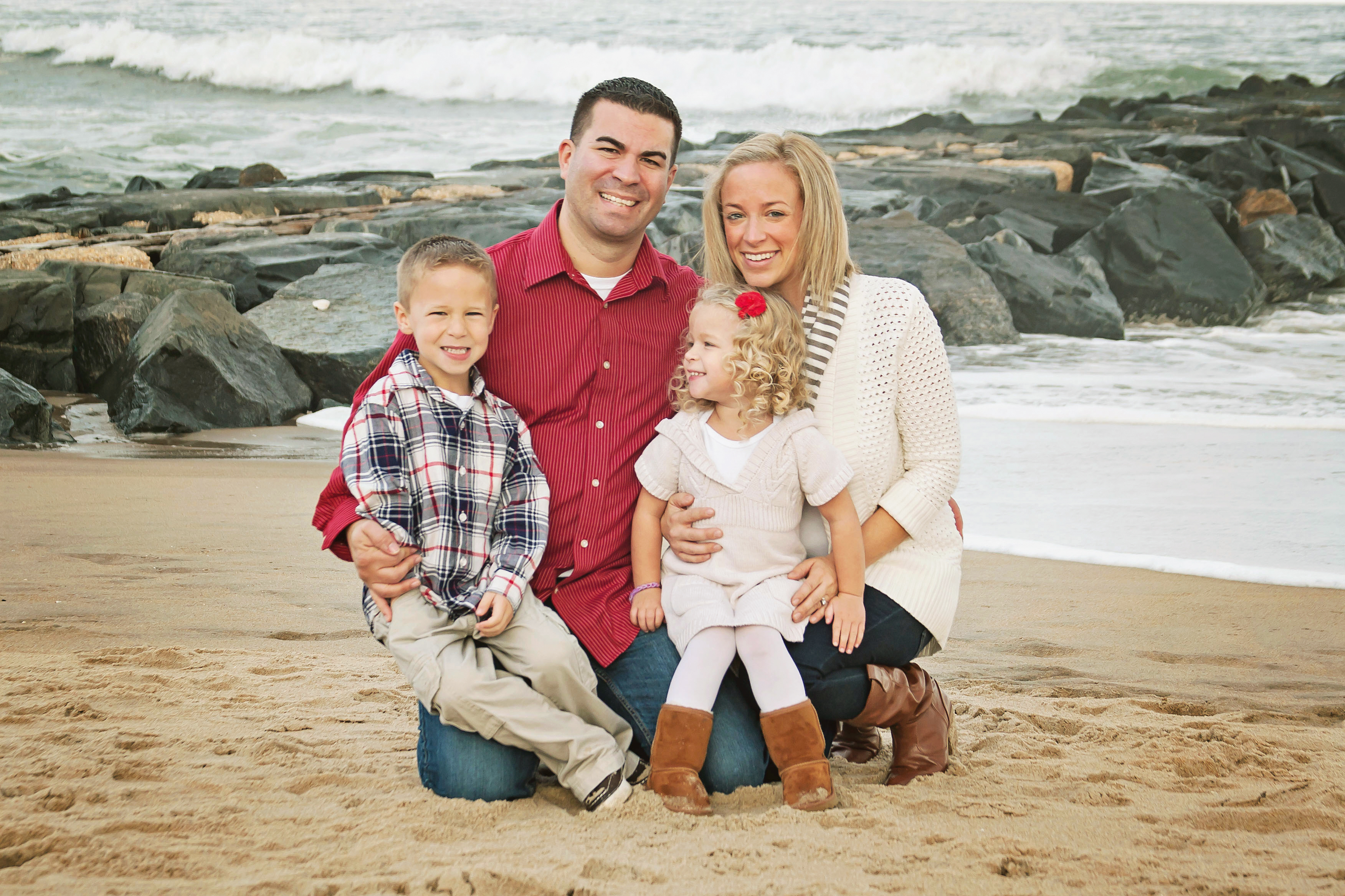 Family photo at the beach.