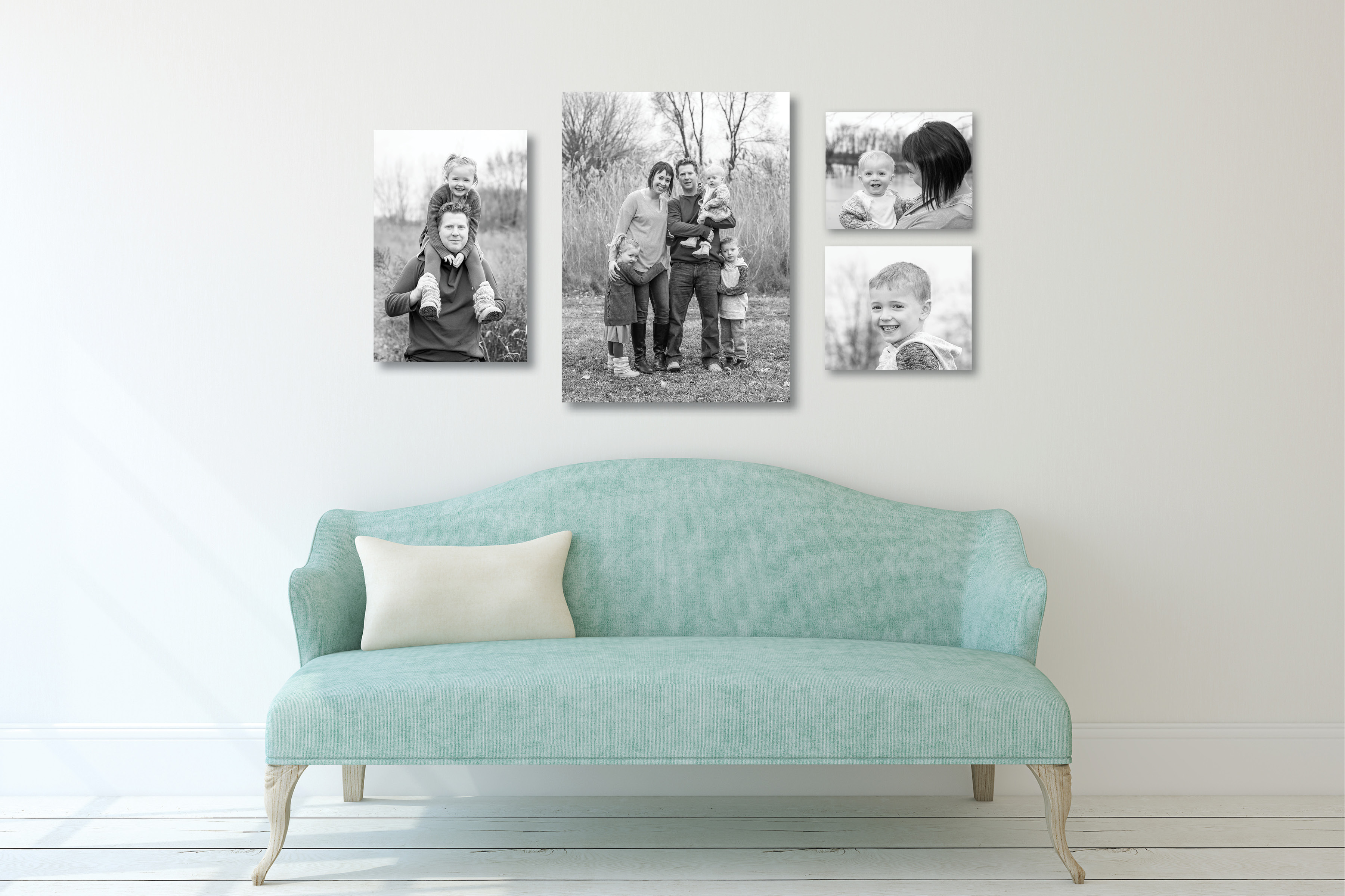 Collage of images above sofa.