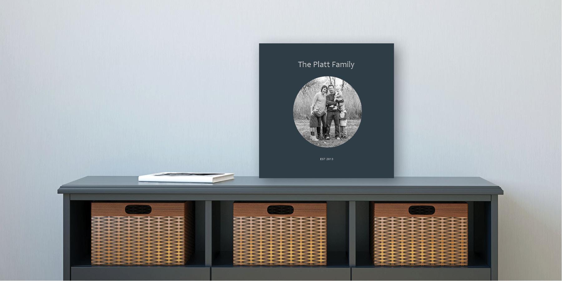 Family photo album on a table.