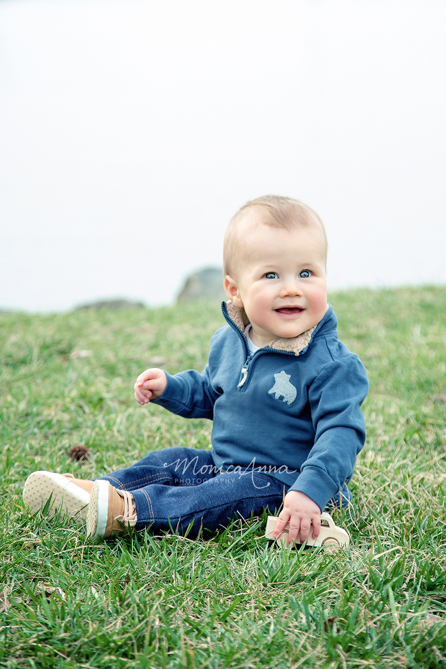 NJ Family Photographer Baby boy with wooden toy