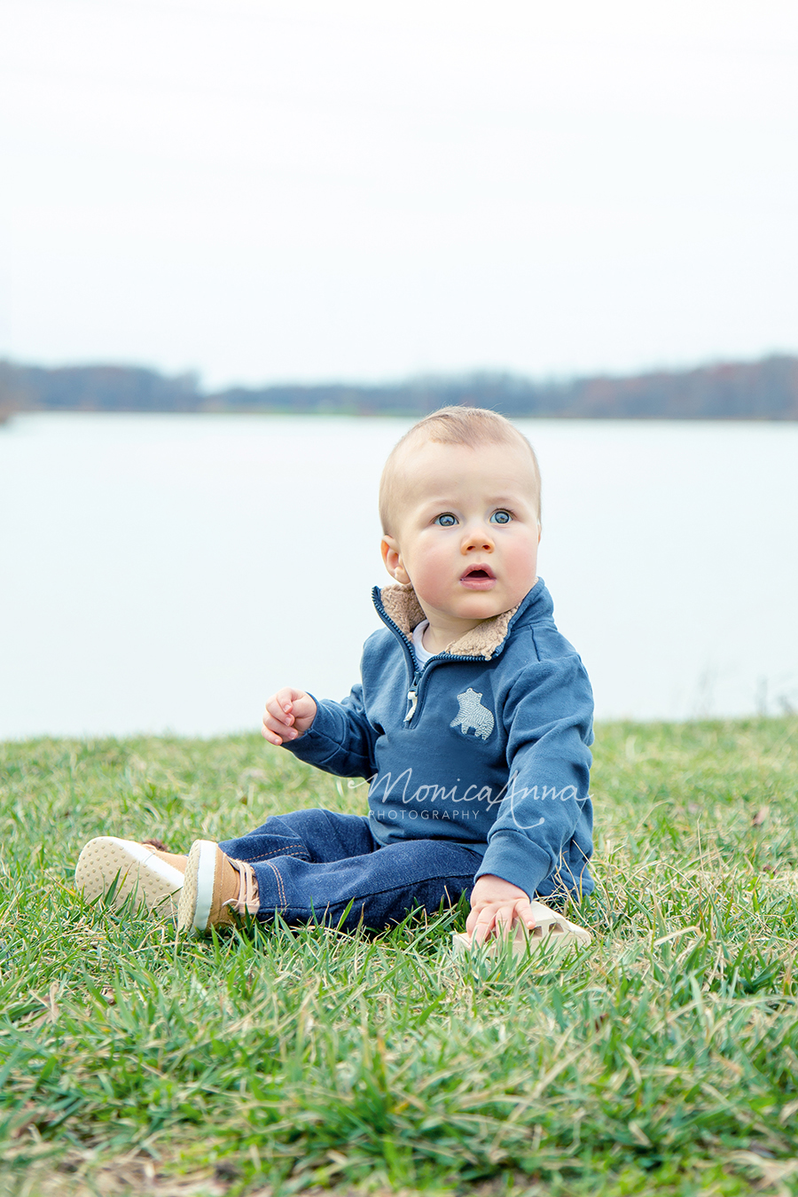 NJ Family Photographer Baby boy in front of lake