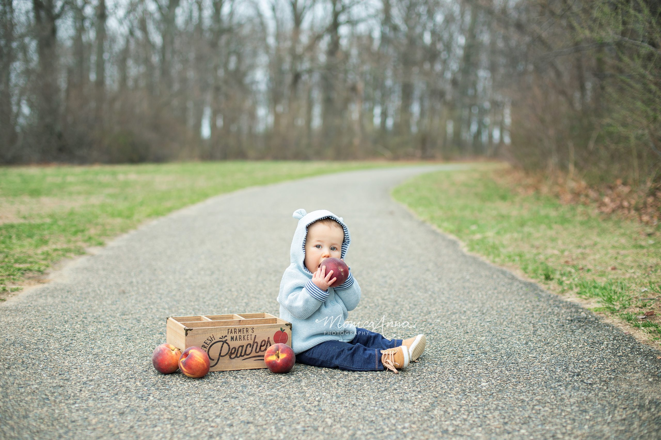 NJ Family Photographer Baby boy with wooden crate and peaches